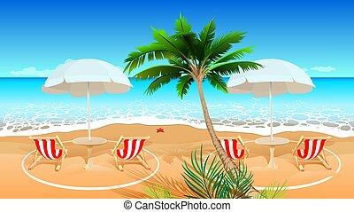 distancia., social, coronavirus, longue, chaise, 19, ilustración, covid, playa, después, feriado, caricatura, epidemic., vector