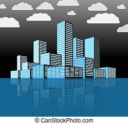 Distrito de la ciudad moderna. Edificios en perspectiva