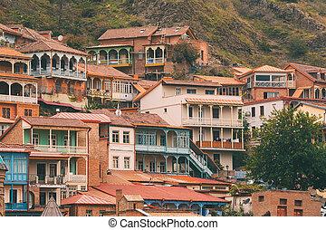 distrito, tbilisi, residencial, pueblo, viejo, georgia.