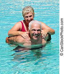 diversión, 3º edad, piscina