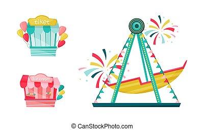 diversión, entretenimiento, conjunto, paseo, vector, atracciones, parque