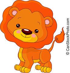 diversión, león, zoo.