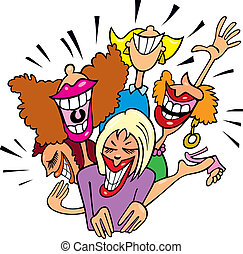 diversión, mujeres que ríen, teniendo