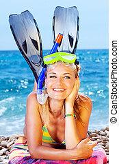 diversión, verano, playa