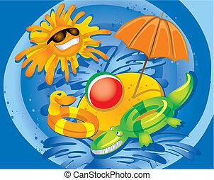 diversión, verano, (vector)