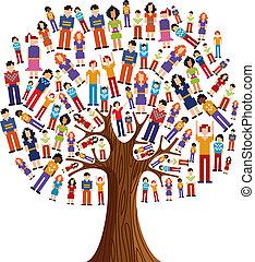 diversidad, árbol, pixel, humano