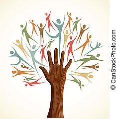 Diversidad de árbol de manos humanos