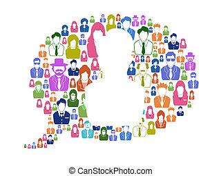 Diversidad de comunicación en burbuja de habla