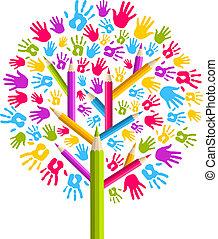 diversidad, educación, árbol, manos