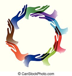 Diversidad manos círculo fondo