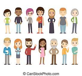 diverso, caricatura, gente