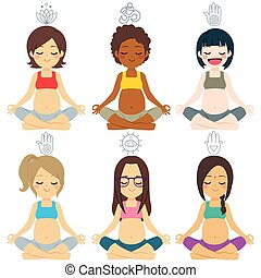 diverso, grupo, posturas, yoga, embarazada
