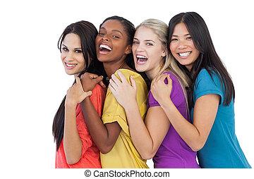 diverso, reír, cámara, mujeres, se abrazar, joven
