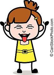 Divertida expresión burlona - chica linda dibujo animado ilustración vector de caracter