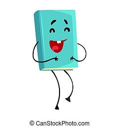Divertida risa azul humanizada libro de dibujos animados vector de ilustración