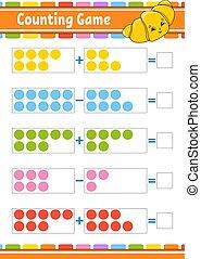 divertido, aislado, kids., tarea, actividad, educación, character., subtraction., worksheet., style., caricatura, vector, children., revelado, illustration., juego, page., adición, color