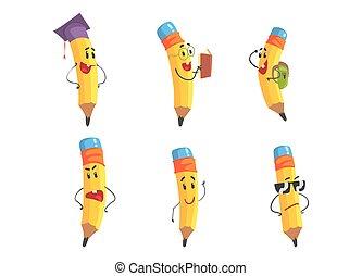divertido, amarillo, caras, conjunto, lápiz, lindo, ilustración, lápices, caracteres, caricatura, vector