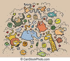divertido, animales, illustration., dibujado, objects:, mano, vector, ilustración, mode!, eps10, composición