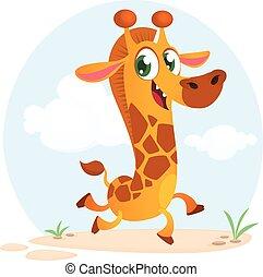 Divertido baile de jirafas de dibujos animados. Ilustración de vectores