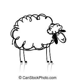 divertido, bosquejo, sheep, diseño, blanco, su