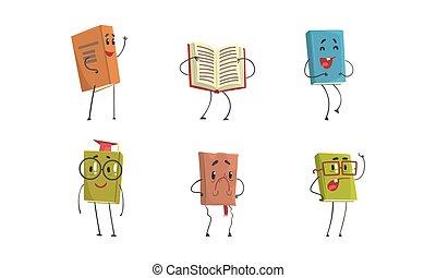 divertido, caracteres, humanized, caras, conjunto, lindo, libro, librosde texto, ilustración, caricatura, vector