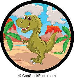 Divertido caricatura de dinosaurios
