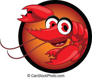 divertido, caricatura, rojo, camarón
