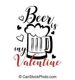 divertido, corazones, valentine-, mi, jarro de cerveza, texto