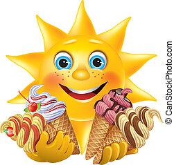 divertido, cremas, delicioso, sol de hielo