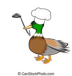 divertido, cucharón, pico, chef, sopa, pato, sombrero, su