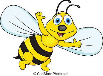 Divertido dibujo animado de abejas