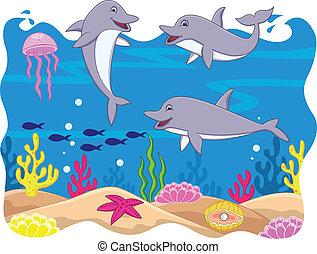 Divertido dibujo animado de delfines