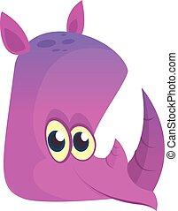 Divertido dibujo animado ilustración de personajes de rinoceronte