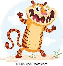 Divertido dibujo animado ilustración de tigre de carácter