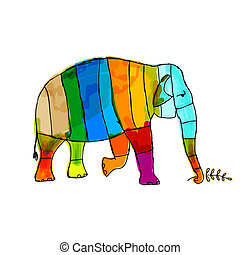 Divertido elefante rayado para tu diseño