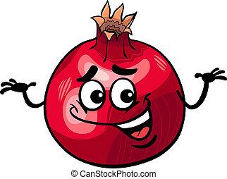 divertido, granada, fruta, caricatura, ilustración