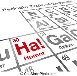 divertido, ha, humor, elemento, tabla periódica, comedia, risa