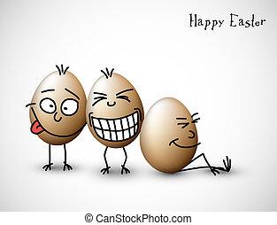 divertido, huevos, pascua