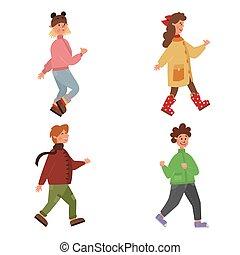 divertido, ilustración, escuela primaria, niños, lindo, niñez, o, conjunto, motion., niñas, jardín de la infancia, plano, clothes., niños, niños, otoño, school., primavera, caricatura, brillante, camino., gente