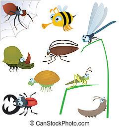 divertido, insecto, conjunto, #2