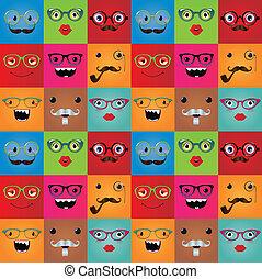 divertido, monstruo, seamless, hipster, plano de fondo, caras