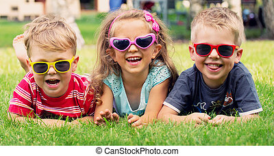 divertido, niños, juego, tres, imagen