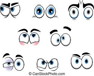 divertido, ojos, caricatura