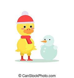 Divertido patito amarillo con dibujos animados de muñecos de nieve ilustración vectorial de caracter