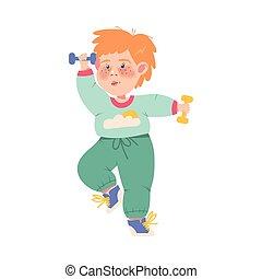 divertido, pecoso, dumbbells, vector, ilustración, ejercicio, físico, niño, atleta