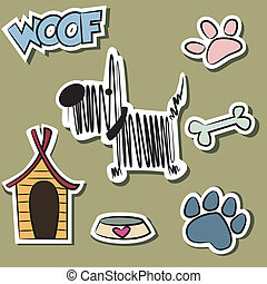 divertido, pegatina, conjunto, perro, accesorio