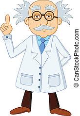 Divertido personaje de dibujos animados científico