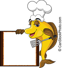 Divertido pez de cocinero amarillo