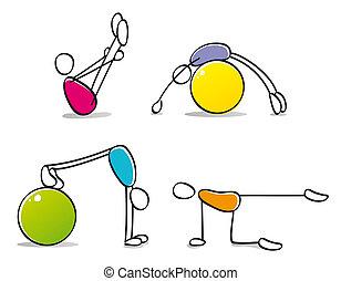 divertido, pilates, practicar, personas