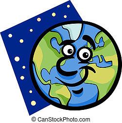 Divertido planeta Tierra ilustración de caricaturas